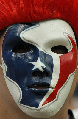 HOUSTON - SEPTEMBER 12:  A Houston Texans fan shows his support during the NFL season opener against the Indianapolis Colts at Reliant Stadium on September 12, 2010 in Houston, Texas.  (Photo by Ronald Martinez/Getty Images)