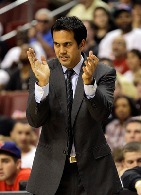 PHILADELPHIA, PA - APRIL 24: Head coach Erik Spoelstra of the Miami Heat applauds his team in Game Four of the Eastern Conference Quarterfinals in the 2011 NBA Playoffs at Wells Fargo Center on April 24, 2011 in Philadelphia, Pennsylvania. NOTE TO USER: U