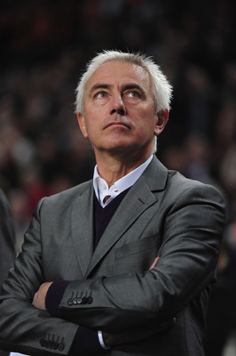 AMSTERDAM, NETHERLANDS - MARCH 29:  Coach of the Netherlands Bert van Marwijk looks on during the Group E, EURO 2012 Qualifier between Netherlands and Hungary at the Amsterdam Arena on March 29, 2011 in Amsterdam, Netherlands.  (Photo by Jamie McDonald/Ge