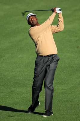 AUGUSTA, GA - APRIL 06:  Vijay Singh of Fiji hits a shot during a practice round prior to the 2011 Masters Tournament at Augusta National Golf Club on April 6, 2011 in Augusta, Georgia.  (Photo by David Cannon/Getty Images)