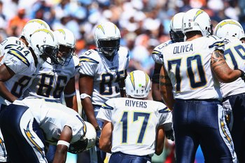 SAN DIEGO - SEPTEMBER 9:  Philip Rivers #17 of the San Diego Chargers huddles with the offense against the Chicago Bears during the game on September 9, 2007 at Qualcomm Stadium in San Diego, California. The Chargers won 14-3. (Photo by Donald Miralle/Get