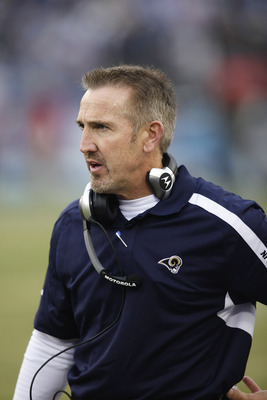NASHVILLE, TN - DECEMBER 13: Head coach Steve Spagnuolo of the St. Louis Rams looks on against the Tennessee Titans at LP Field on December 13, 2009 in Nashville, Tennessee. The Titans defeated the Rams 47-7. (Photo by Joe Robbins/Getty Images)