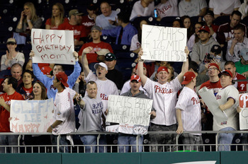 WASHINGTON, DC - APRIL 14: Fans hold up signs during the Philadelphia Phillies and Washington Nationals game at Nationals Park on April 14, 2011 in Washington, DC.  (Photo by Rob Carr/Getty Images)