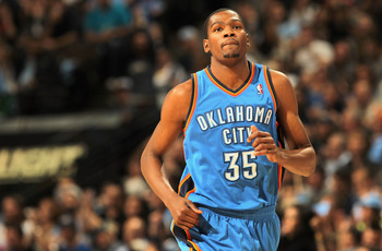 DENVER, CO - APRIL 25:  Kevin Durant #35 of the Oklahoma City Thunder heads up court against the Denver Nuggets in Game Four of the Western Conference Quarterfinals in the 2011 NBA Playoffs on April 24, 2011 at the Pepsi Center in Denver, Colorado. The Nu