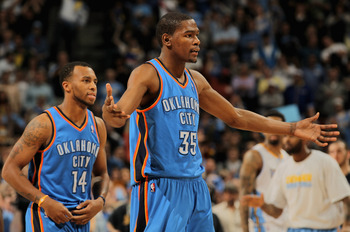 DENVER, CO - APRIL 25:  Kevin Durant #35 of the Oklahoma City Thunder reacts to a call a the Thunder face the Denver Nuggets in Game Four of the Western Conference Quarterfinals in the 2011 NBA Playoffs on April 24, 2011 at the Pepsi Center in Denver, Col