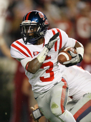 TUSCALOOSA, AL - OCTOBER 16:  Jeff Scott #3 of the Ole Miss Rebels against the Alabama Crimson Tide at Bryant-Denny Stadium on October 16, 2010 in Tuscaloosa, Alabama.  (Photo by Kevin C. Cox/Getty Images)
