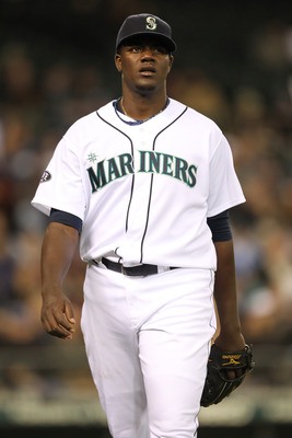 SEATTLE, WA - APRIL 12:  Starting pitcher Michael Pineda #36 of the Seattle Mariners walks back to the dugout after retiring the side during the game against the Toronto Blue Jays at Safeco Field on April 12, 2011 in Seattle, Washington. (Photo by Otto Gr