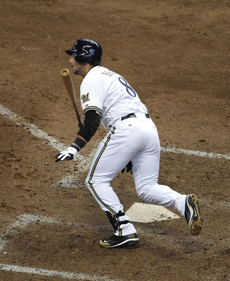 MILWAUKEE, WI - APRIL 04: Ryan Braun #8 of the Milwaukee Brewers runs after hitting the ball against the Atlanta Braves during the home opener at Miller Park on April 4, 2011 in Milwaukee, Wisconsin. The Braves defeated the Brewers 2-1. (Photo by Jonathan