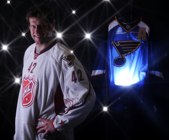 RALEIGH, NC - JANUARY 30:  (EDITORS NOTE: A special effects camera filter was used for this image.) David Backes #42 of the St. Louis Blues for Team Staal poses for a portrait before the 58th NHL All-Star Game at RBC Center on January 30, 2011 in Raleigh,