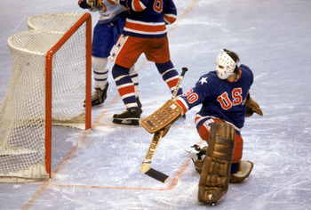 LAKE PLACID, NY - FEBRUARY 24:  Goalie Jim Craig #30 of the United States makes a save during the Olympic hockey game against Finland on February 24, 1980 in Lake Placid, New York.  The United States won 4-2.  (Photo by: Getty Images)