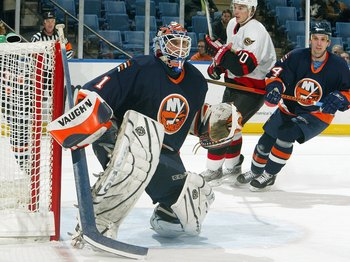 UNIONDALE, NY - DECEMBER 5: Mike Dunham #1 of the New York Islanders blocks the net during the game against the Ottawa Senators on December 5, 2006 at Nassau Coliseum in Uniondale, New York. (Photo by Jim McIsaac/Getty Images)
