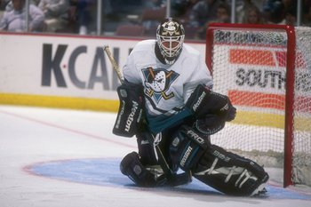 4 Dec 1996:  Goaltender Guy Hebert of the Anaheim Mighty Ducks looks on during a game against the Tampa Bay Lightning at Arrowhead Pond in Anaheim, California.  The Lightning won the game, 3-1. Mandatory Credit: Glenn Cratty  /Allsport