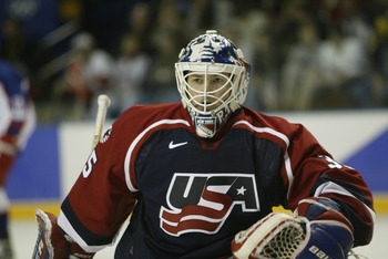 22 Feb 2002:   Mike Richter #35 of the USA after making a save during the men's semifinals at the Salt Lake City Winter Olympic Games at the E Center in Salt Lake City, Utah. DIGITAL IMAGE. Mandatory Credit:   Brian Bahr/Getty Images