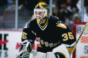 25 Sep 1996:  Goaltender Tom Barrasso of the Pittsburgh Penguins looks on during a game against the Anaheim Mighty Ducks at Arrowhead Pond in Anaheim, California.  The Ducks won the game, 6-1. Mandatory Credit: Glenn Cratty  /Allsport