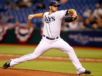 ST. PETERSBURG, FL - APRIL 02:  Pitcher James Shields #33 of the Tampa Bay Rays pitches against the Baltimore Orioles during the game at Tropicana Field on April 2, 2011 in St. Petersburg, Florida.  (Photo by J. Meric/Getty Images)