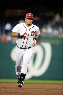 WASHINGTON, DC - APRIL 26:  Wilson Ramos #3 of the Washington Nationals rounds the bases after hitting a home run in the second inning against the New York Mets at Nationals Park on April 26, 2011 in Washington, DC.  (Photo by Greg Fiume/Getty Images)