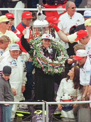 26 May 1996:  Buddy Lazier celebrates winning the Indianapolis 500 at the Indianapolis Motor Speedway in Indianapolis, Indiana. Lazier won with a time of 3:22:45.753. Mandatory Credit:  Andy Lyons/ALLSPORT