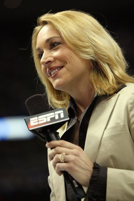 DENVER - MAY 29:  ESPN's Doris Burke speaks during a timeout in Game Six of the Western Conference Finals during the 2009 NBA Playoffs between the Los Angeles Lakers and the Denver Nuggets at Pepsi Center on May 29, 2009 in Denver, Colorado. NOTE TO USER: