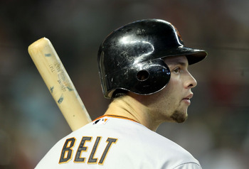 PHOENIX, AZ - APRIL 17:  Brandon Belt #9 of the San Francisco Giants at bat during the Major League Baseball game against the Arizona Diamondbacks at Chase Field on April 17, 2011 in Phoenix, Arizona. The Diamondbacks defeated the Giants 6-5 in the twelft