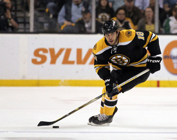 BOSTON, MA - APRIL 27: Nathan Horton #18 of the Boston Bruins controls the puck against the Montreal Canadiens in Game Seven of the Eastern Conference Quarterfinals during the 2011 NHL Stanley Cup Playoffs at TD Garden on April 27, 2011 in Boston, Massach