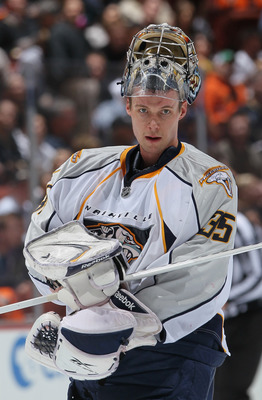 ANAHEIM, CA - APRIL 15:  Goaltender Pekka Rinne #35 of the Nashville Predators looks on against the Anaheim Ducks in Game Two of the Western Conference Quarterfinals during the 2011 NHL Stanley Cup Playoffs at Honda Center on April 15, 2011 in Anaheim, Ca
