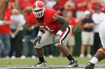 ATHENS, GA - OCTOBER 11:  Akeem Dent #51 of the Georgia Bulldogs gets ready on field during the game against the Tennessee Volunteers at Sanford Stadium on October 11, 2008 in Athens, Georgia.  (Photo by Kevin C. Cox/Getty Images)