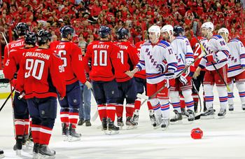 WASHINGTON , DC - APRIL 23:  Matt Bradley #10 of the Washington Capitals greets Brandon Dubinsky #17 of the New York Rangers during the handshake following a 3-1 win over the Rangers in Game Five of the Eastern Conference Quarterfinals during the 2011 NHL