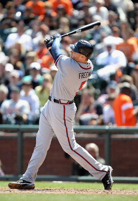 SAN FRANCISCO, CA - APRIL 24:  Freddie Freeman #5 of the Atlanta Braves in action against the San Francisco Giants at AT&T Park on April 24, 2011 in San Francisco, California.  (Photo by Ezra Shaw/Getty Images)
