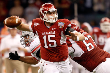 NEW ORLEANS, LA - JANUARY 04:  Quarterback Ryan Mallett #15 of the Arkansas Razorbacks looks to pass against the Ohio State Buckeyes during the Allstate Sugar Bowl at the Louisiana Superdome on January 4, 2011 in New Orleans, Louisiana.  (Photo by Matthew