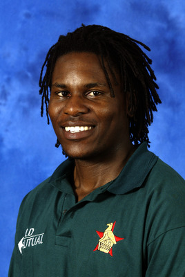 COLOMBO - SEPTEMBER 10:  A portrait of Mpumelelo Mbangwa of Zimbabwe, taken before the ICC Champions Trophy on September 10, 2002 in Colombo, Sri Lanka. (Photo by Clive Mason/Getty Images)