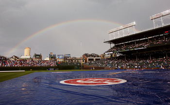 CHICAGO - JUNE 22: A rainbow appears over Wrigley Field following a short rain delay before the Chicago Cubs take on the Chicago White Sox on June 22, 2008 in Chicago, Illinois.  (Photo by Jonathan Daniel/Getty Images)