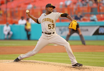 MIAMI GARDENS, FL - APRIL 21:  James McDonald #53  of the Pittsburgh Pirates pitches during a game against the Florida Marlins at Sun Life Stadium on April 21, 2011 in Miami Gardens, Florida.  (Photo by Mike Ehrmann/Getty Images)