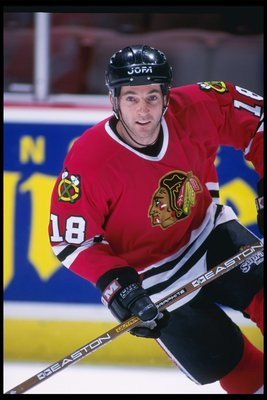 4 Feb 1996:  Center Denis Savard of the Chicago Blackhawks skates down the ice during a game against Anaheim Mighty Ducks at Arrowhead Pond in Anaheim, California.  The Blackhawks won the game 4-1.. Mandatory Credit: Glenn Cratty  /Allsport