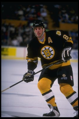 12 Dec 1995: Rightwinger Cam Neely of the Boston Bruins looks on during a game against the Buffalo Sabres at Memorial Auditorium in Buffalo, New York. The Bruins won the game, 2-1.