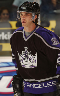 LOS ANGELES, CA - OCTOBER 23:  Luc Robitaille #20 of the Los Angeles Kings looks on in warms-up prior to the start of the NHL game against the Calgary Flames on October 23, 2005 at the Staples Center in Los Angeles, California.  (Photo by Noah Graham/Gett