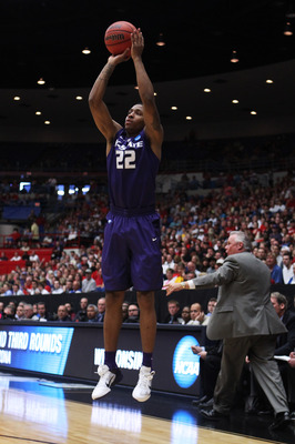 TUCSON, AZ - MARCH 19:  Rodney McGruder #22 of the Kansas State Wildcats shoots a three-pointer against the Wisconsin Badgers during the third round of the 2011 NCAA men's basketball tournament at McKale Center on March 19, 2011 in Tucson, Arizona.  (Phot