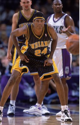 3 Dec 2000:  Johnathan Bender #24 of the Indiana Pacers is ready on the court during the game against the Milwaukee Bucks at the Bradley Center in Milwaukee, Wisconsin. The Bucks defeated the Pacers 92-80.    NOTE TO USER: It is expressly understood that