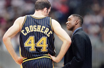 31 Oct 2000:  Head Coach Isiah Thomas of the Indiana Pacers talks to Austin Croshere #44 on the sidelines during the game against the San Antonio Spurs at the Alamodome in San Antonio, Texas. The Spurs defeated the Pacers 98-85.    NOTE TO USER: It is exp