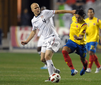 CHESTER, PA - OCTOBER 12: Michael Bradley #4 of the United States and Falcao Garcia #9 of Colombia fight for control of the ball at PPL Park on October 12, 2010 in Chester, Pennsylvania. (Photo by Drew Hallowell/Getty Images)