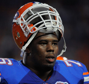 GAINESVILLE, FL - SEPTEMBER 25:  Offensive lineman Marcus Gilbert #76 of the Florida Gators takes a breather during a stoppage in play against the Kentucky Wildcats at Ben Hill Griffin Stadium on September 25, 2010 in Gainesville, Florida. Florida defeate