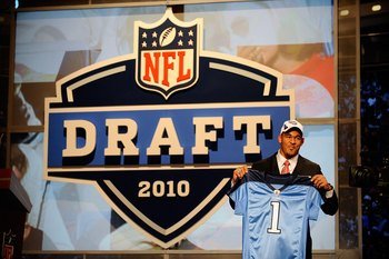 NEW YORK - APRIL 22:  Derrick Morgan from the Georgia Tech Yellow Jackets holds up a Tennessee Titans jersey after the Titans selected Morgan number 16 overall during the first round of the 2010 NFL Draft at Radio City Music Hall on April 22, 2010 in New
