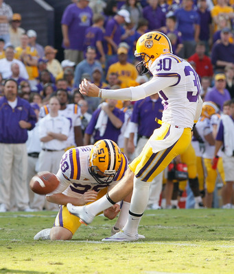 BATON ROUGE, LA - NOVEMBER 20:  Josh Jasper #30 of the Louisiana State University Tigers against the Ole Miss Rebels at Tiger Stadium on November 20, 2010 in Baton Rouge, Louisiana.  (Photo by Kevin C. Cox/Getty Images)