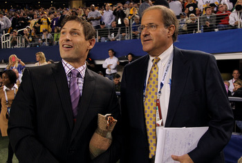ARLINGTON, TX - FEBRUARY 06:  ESPN TV personalities Steve Young and Chris Berman on the field during Super Bowl XLV at Cowboys Stadium on February 6, 2011 in Arlington, Texas.  (Photo by Doug Pensinger/Getty Images)