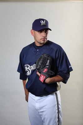 MARYVALE, AZ - MARCH 01:  Marco Estrada #74 poses for a portrait during the Milwaukee Brewers Photo Day at the Maryvale  Baseball Park on March 1, 2010 in Maryvale, Arizona.  (Photo by Jonathan Ferrey/Getty Images)