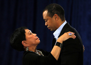 PONTE VEDRA BEACH, FL - FEBRUARY 19:  Tiger Woods talks his mother Kultida following a statement from the Sunset Room on the second floor of the TPC Sawgrass, home of the PGA Tour on February 19, 2010 in Ponte Vedra Beach, Florida. Woods publicly admitted
