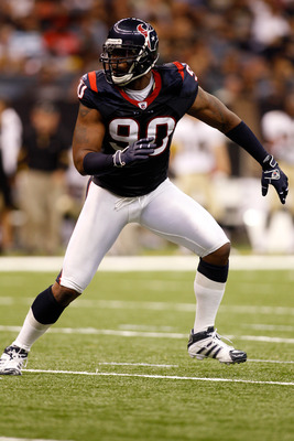 NEW ORLEANS - AUGUST 21:  Mario Williams #90 of the Houston Texans in action during the game against the New Orleans Saints at the Louisiana Superdome on August 21, 2010 in New Orleans, Louisiana.  (Photo by Chris Graythen/Getty Images)