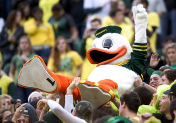 EUGENE, OR - NOVEMBER 06: Mascot 'Puddles' of the Oregon Ducks sdoes some crowd surfing in the fourth quarter of the game between the Washington Huskies and the Oregon Ducks at Autzen Stadium on November 6, 2010 in Eugene, Oregon. The Ducks won the game 5