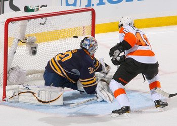BUFFALO, NY - APRIL 24: Danny Briere #48 of the Philadelphia Flyers scores on Ryan Miller #30 of the Buffalo Sabres in the first period of Game Six of the Eastern Conference Quarterfinals during the 2011 NHL Stanley Cup Playoffs at HSBC Arena at HSBC Aren