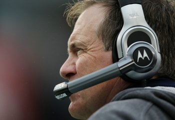 FOXBORO, MA - SEPTEMBER 27:  Head coach Bill Belichick of the New England Patriots looks on from the sideline during the second quarter of the game against the Atlanta Falcons at Gillette Stadium on September 27, 2009 in Foxboro, Massachusetts.  (Photo by