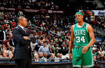 ATLANTA, GA - APRIL 01:  Paul Pierce #34 of the Boston Celtics and head coach Doc Rivers against the Atlanta Hawks at Philips Arena on April 1, 2011 in Atlanta, Georgia.  NOTE TO USER: User expressly acknowledges and agrees that, by downloading and/or usi